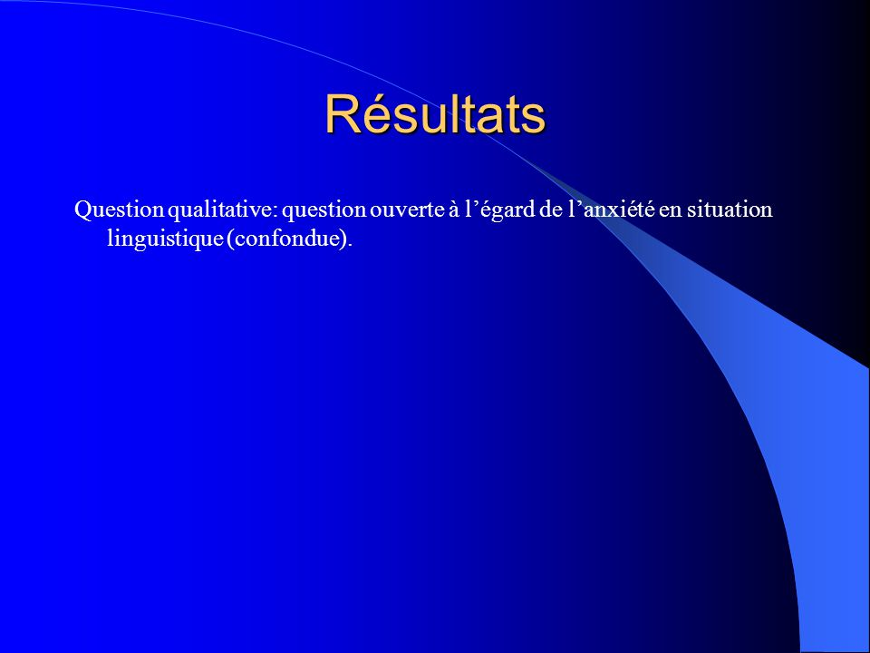 Résultats Question qualitative: question ouverte à l'égard de l'anxiété en situation linguistique (confondue).