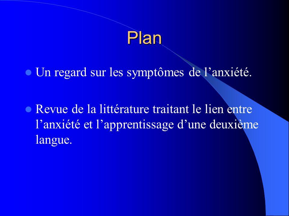 Plan Un regard sur les symptômes de l'anxiété.