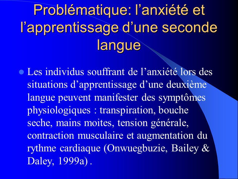 Problématique: l'anxiété et l'apprentissage d'une seconde langue