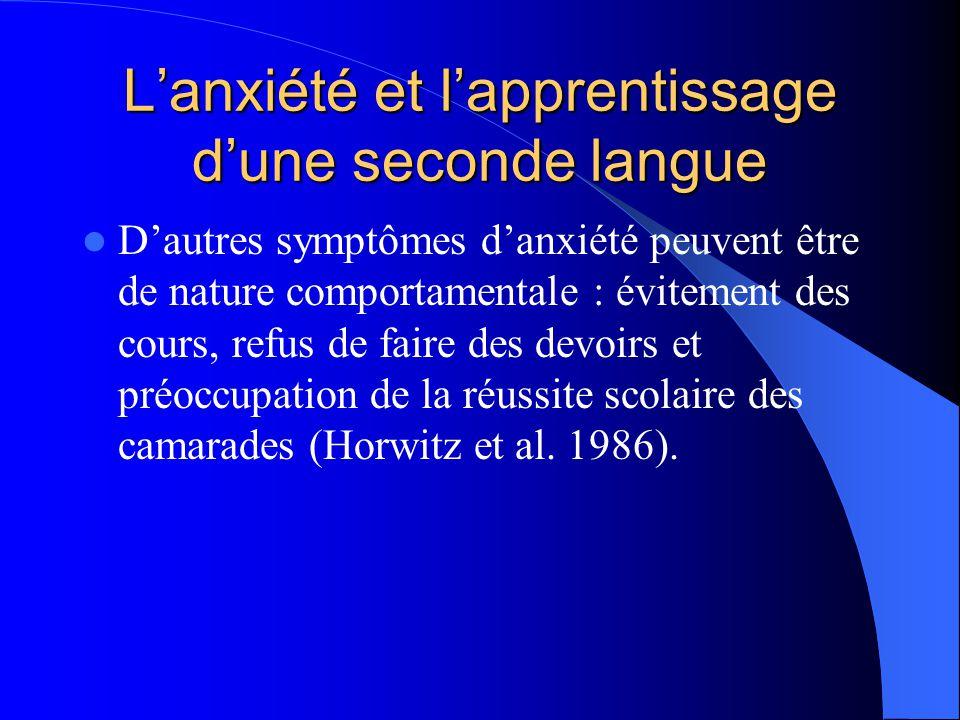 L'anxiété et l'apprentissage d'une seconde langue
