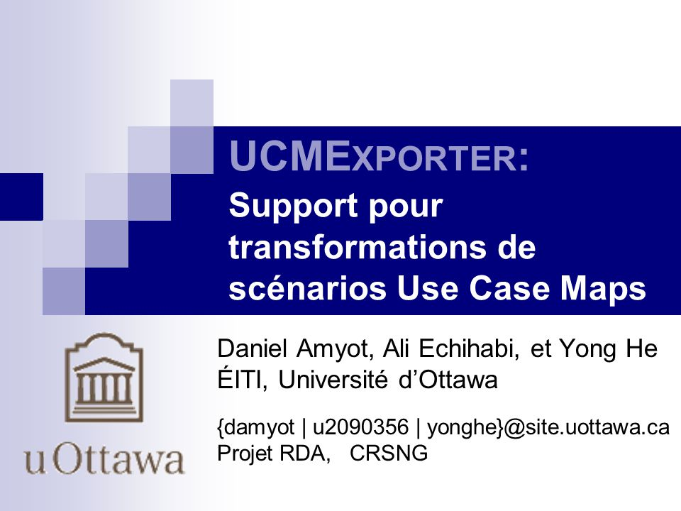 UCMEXPORTER: Support pour transformations de scénarios Use Case Maps