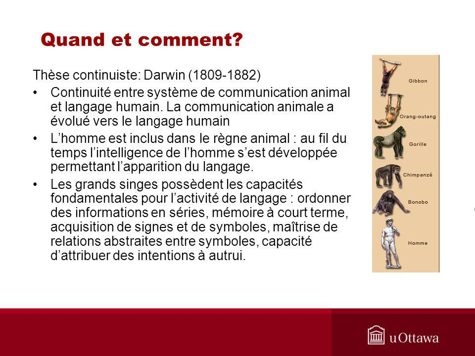Quand et comment Thèse continuiste: Darwin (1809-1882)