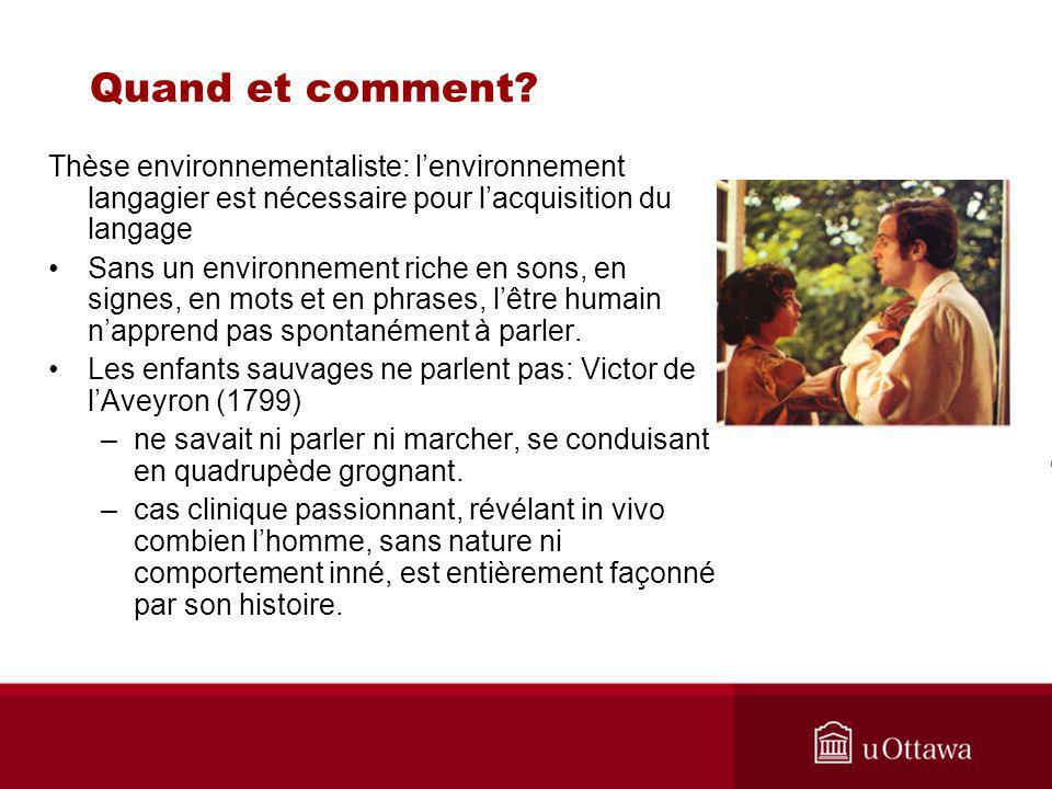 Quand et comment Thèse environnementaliste: l'environnement langagier est nécessaire pour l'acquisition du langage.