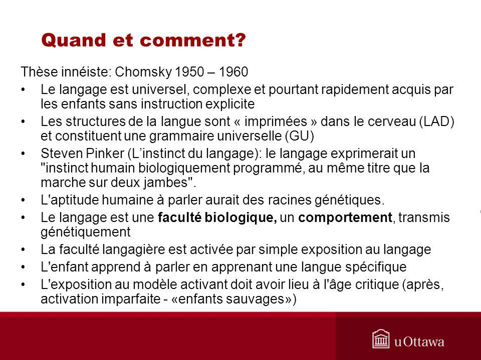 Quand et comment Thèse innéiste: Chomsky 1950 – 1960