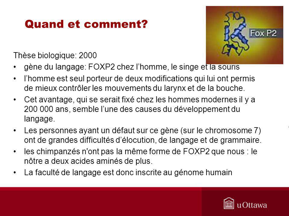 Quand et comment Thèse biologique: 2000
