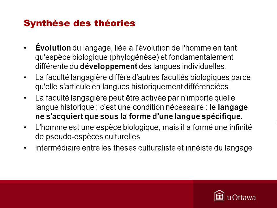 Synthèse des théories