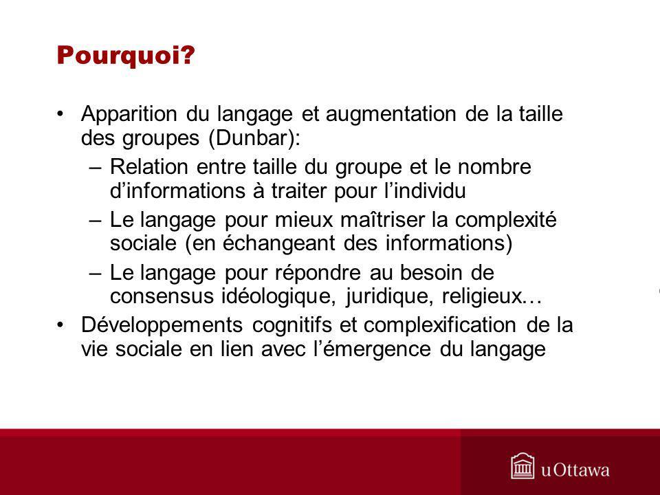 Pourquoi Apparition du langage et augmentation de la taille des groupes (Dunbar):