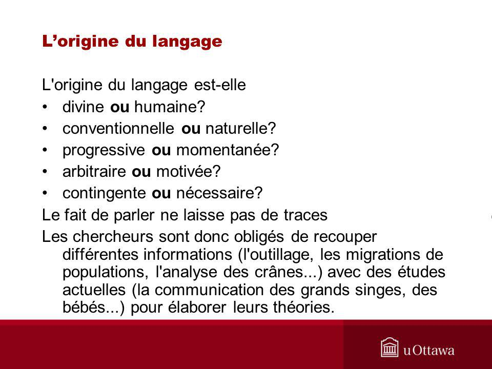 L origine du langage est-elle divine ou humaine