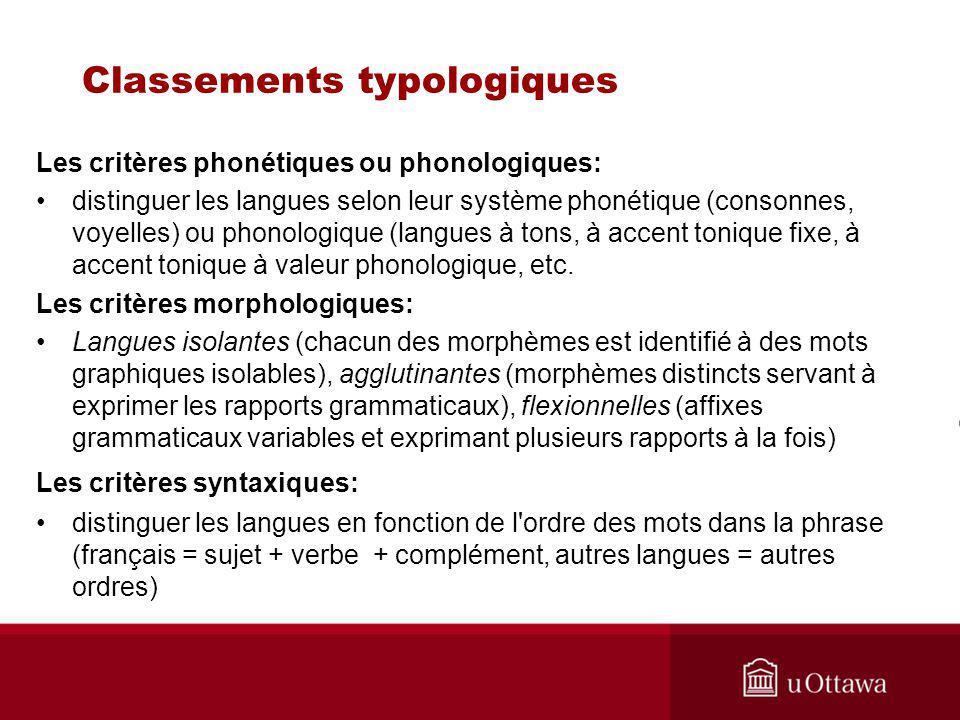 Classements typologiques