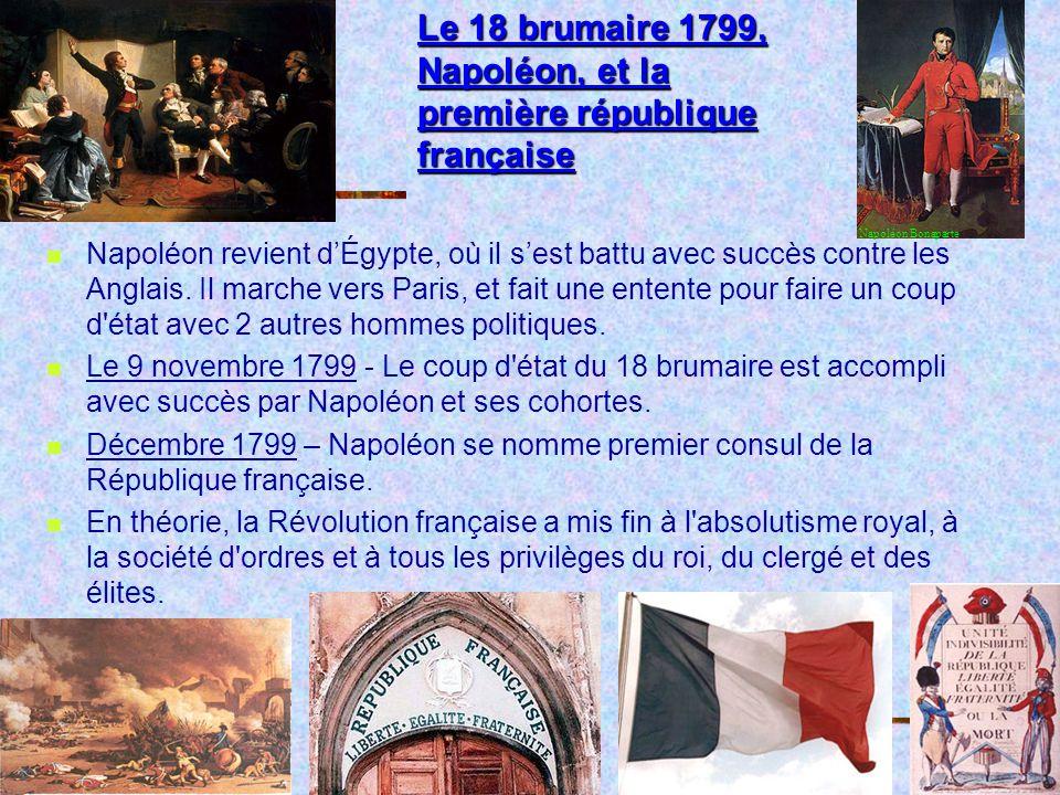 Le 18 brumaire 1799, Napoléon, et la première république française