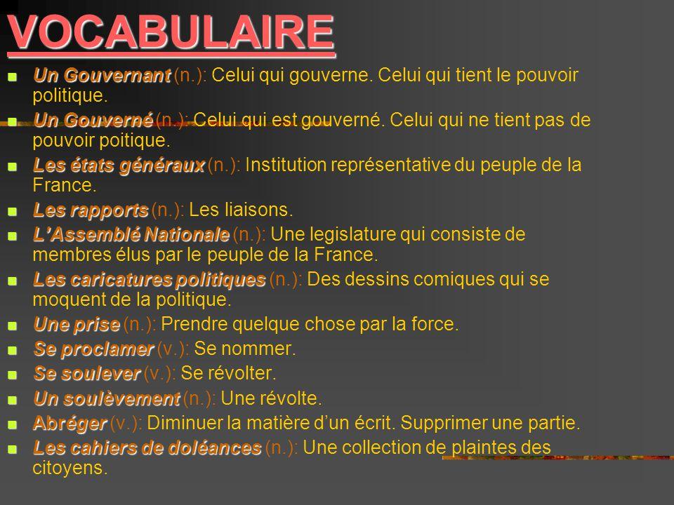 VOCABULAIRE Un Gouvernant (n.): Celui qui gouverne. Celui qui tient le pouvoir politique.