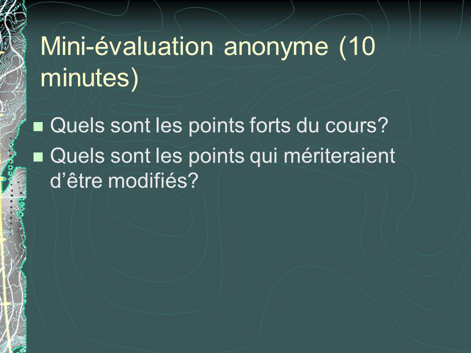 Mini-évaluation anonyme (10 minutes)