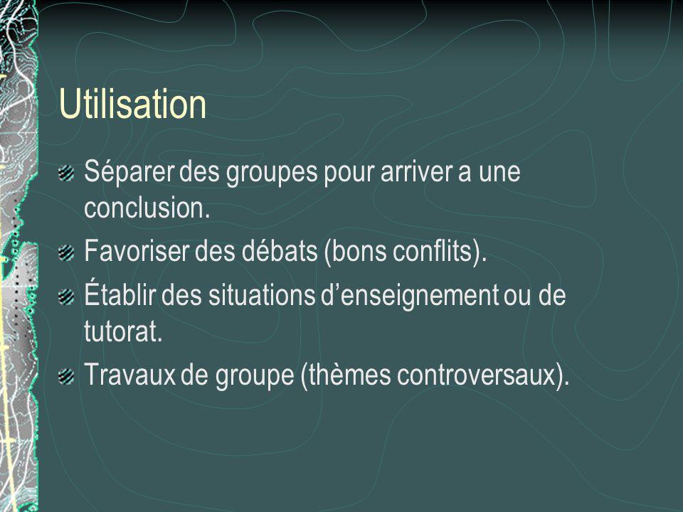 Utilisation Séparer des groupes pour arriver a une conclusion.
