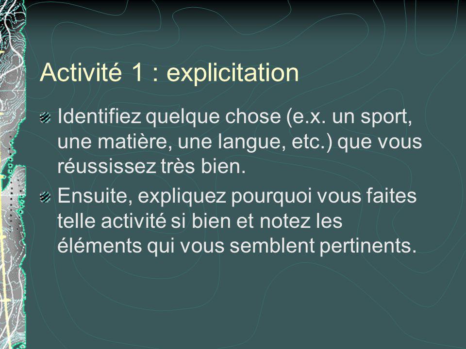 Activité 1 : explicitation