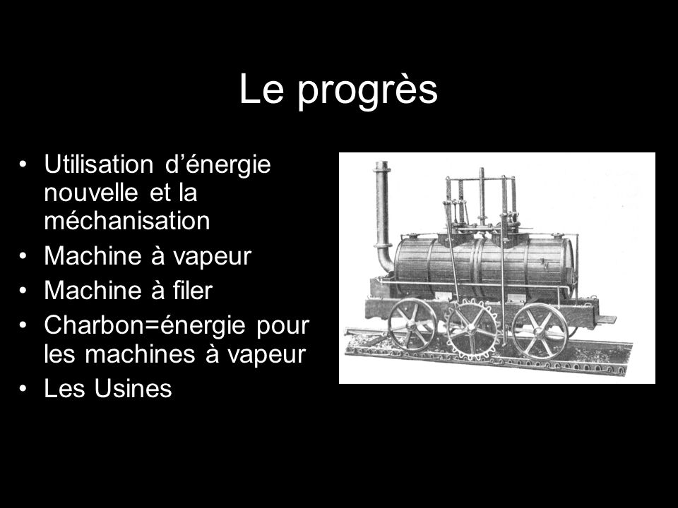 Le progrès Utilisation d'énergie nouvelle et la méchanisation