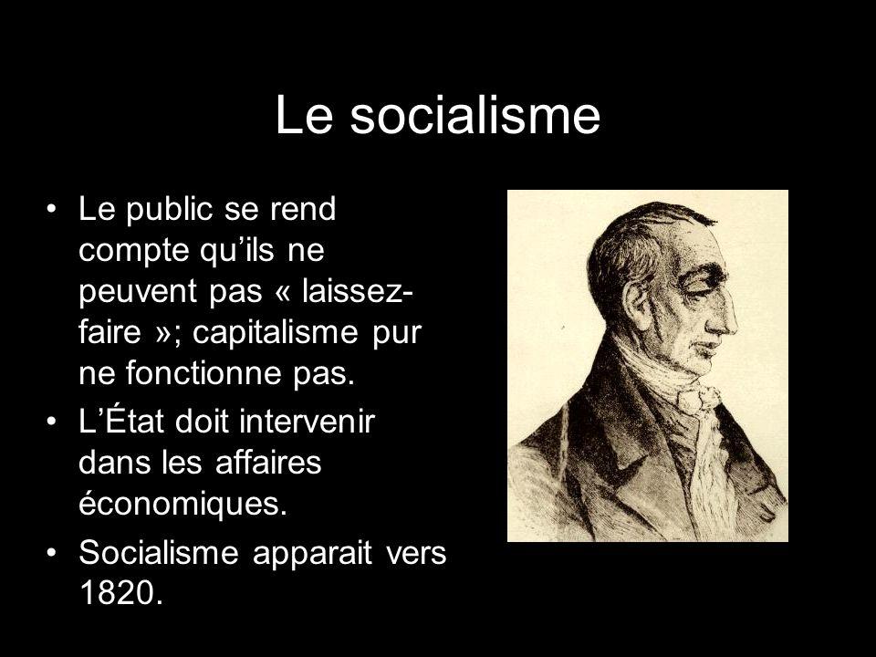 Le socialisme Le public se rend compte qu'ils ne peuvent pas « laissez-faire »; capitalisme pur ne fonctionne pas.