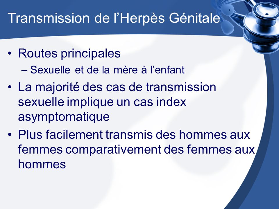 Transmission de l'Herpès Génitale