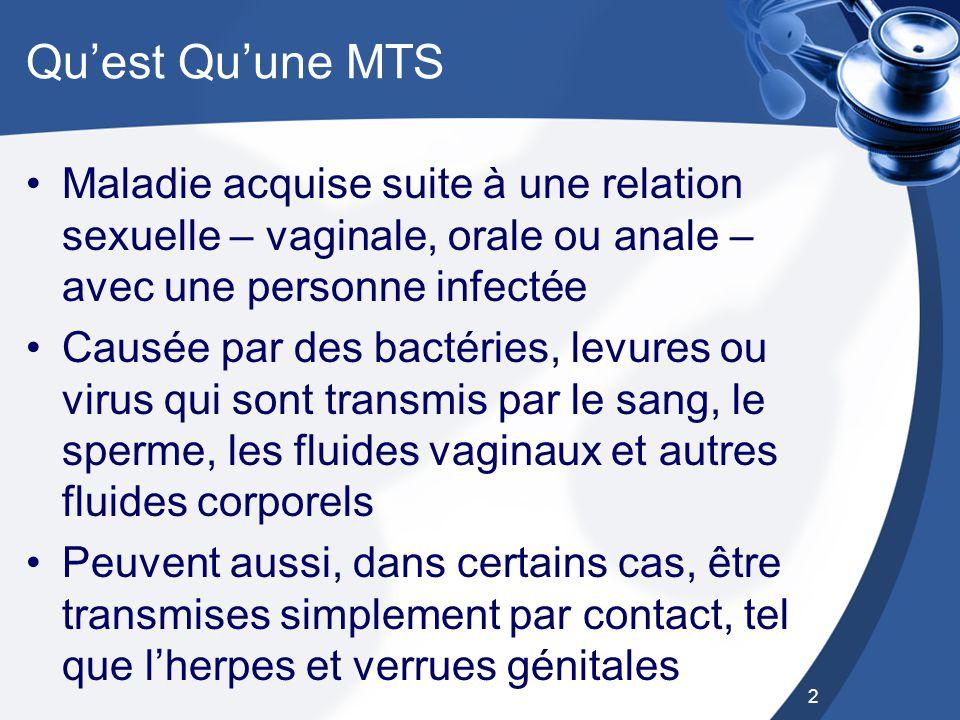 Qu'est Qu'une MTS Maladie acquise suite à une relation sexuelle – vaginale, orale ou anale – avec une personne infectée.