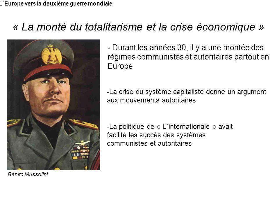 L`Europe vers la deuxième guerre mondiale