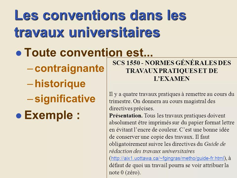 Les conventions dans les travaux universitaires