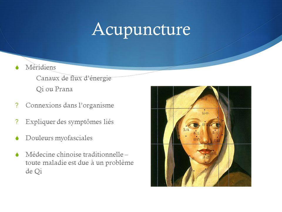 Acupuncture Méridiens Canaux de flux d'énergie Qi ou Prana