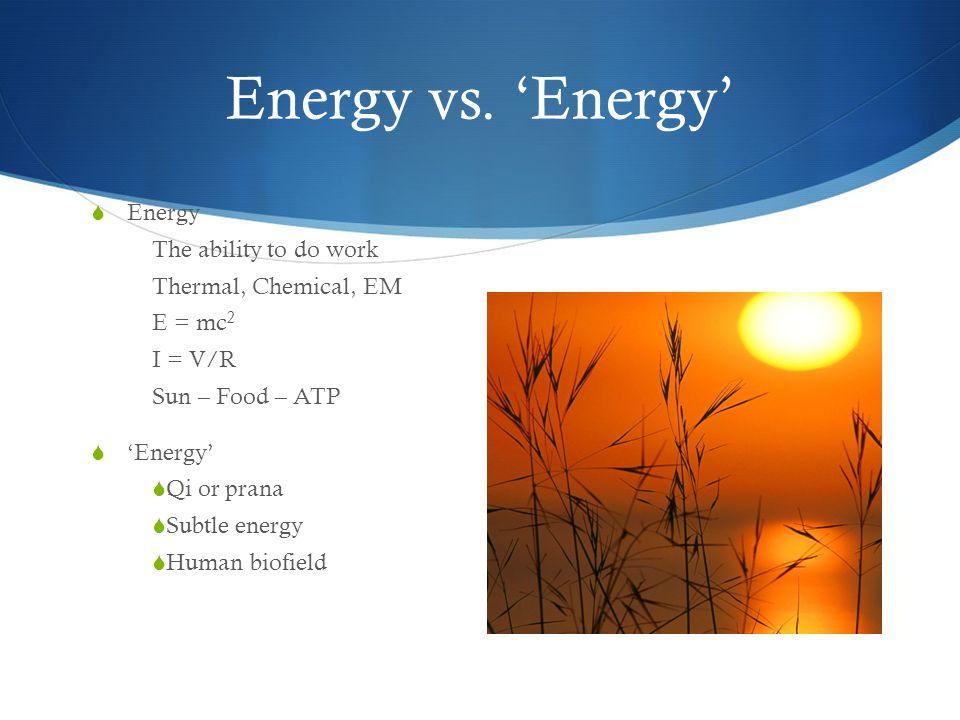 Energy vs. 'Energy' Energy The ability to do work