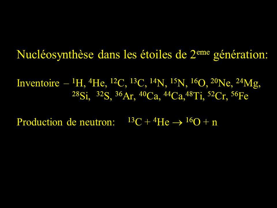 Nucléosynthèse dans les étoiles de 2eme génération: Inventoire – 1H, 4He, 12C, 13C, 14N, 15N, 16O, 20Ne, 24Mg, 28Si, 32S, 36Ar, 40Ca, 44Ca,48Ti, 52Cr, 56Fe Production de neutron: 13C + 4He  16O + n