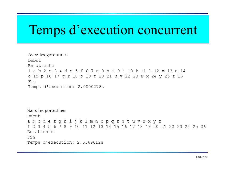Temps d'execution concurrent