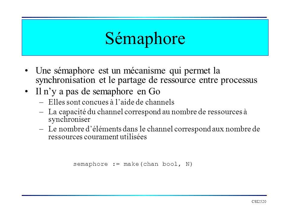 Sémaphore Une sémaphore est un mécanisme qui permet la synchronisation et le partage de ressource entre processus.