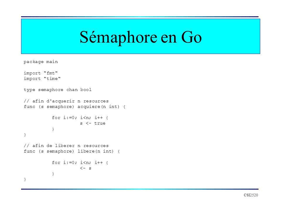 Sémaphore en Go package main import fmt import time