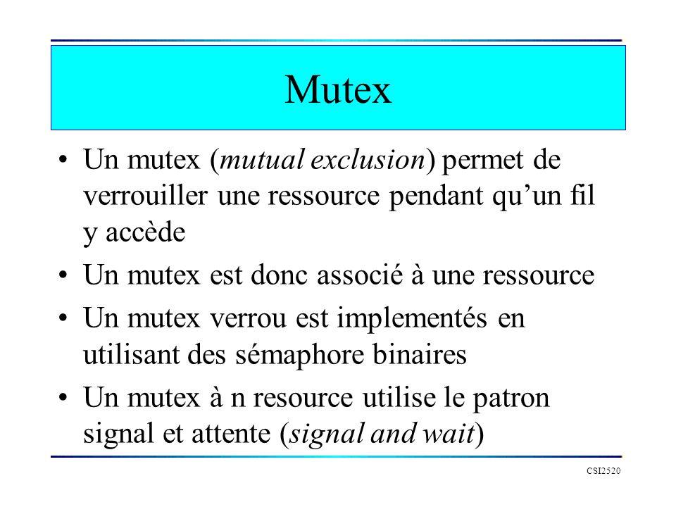 Mutex Un mutex (mutual exclusion) permet de verrouiller une ressource pendant qu'un fil y accède. Un mutex est donc associé à une ressource.