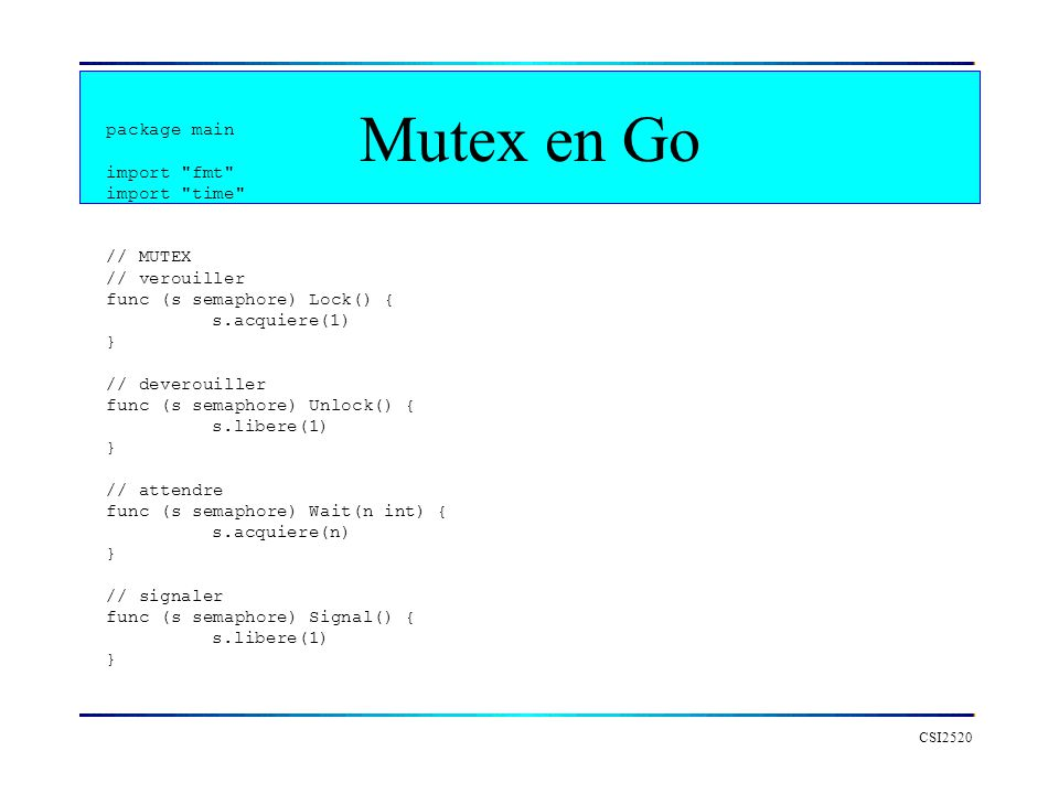 Mutex en Go package main import fmt import time // MUTEX