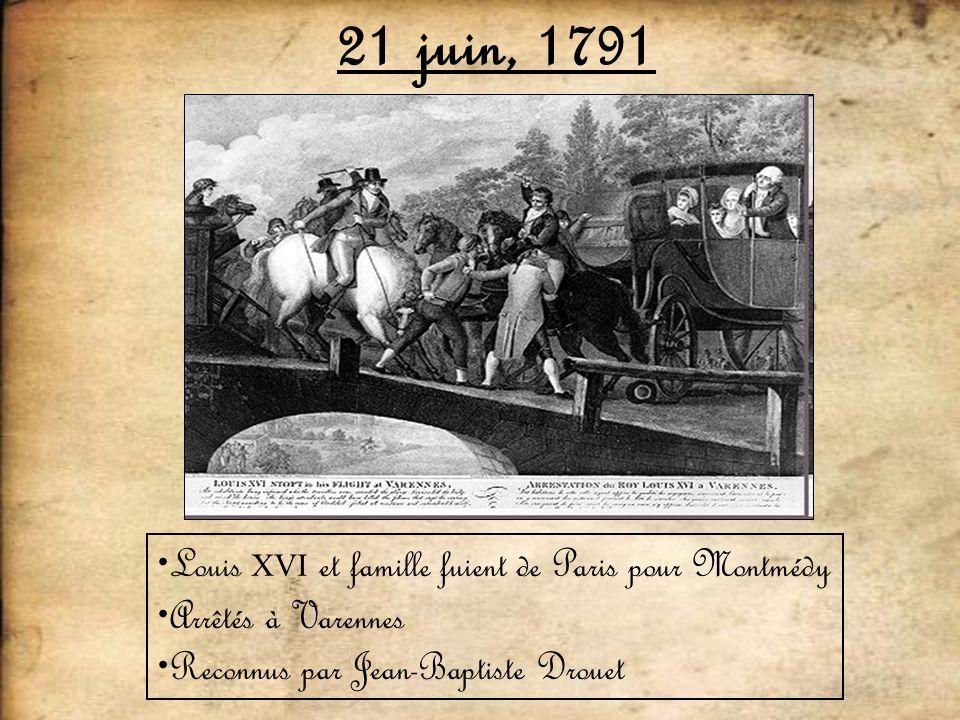 21 juin, 1791 Louis XVI et famille fuient de Paris pour Montmédy