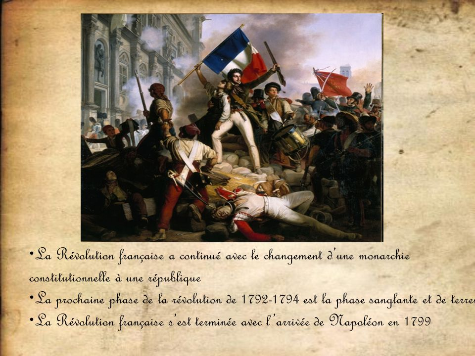 La Révolution française a continué avec le changement d'une monarchie constitutionnelle à une république