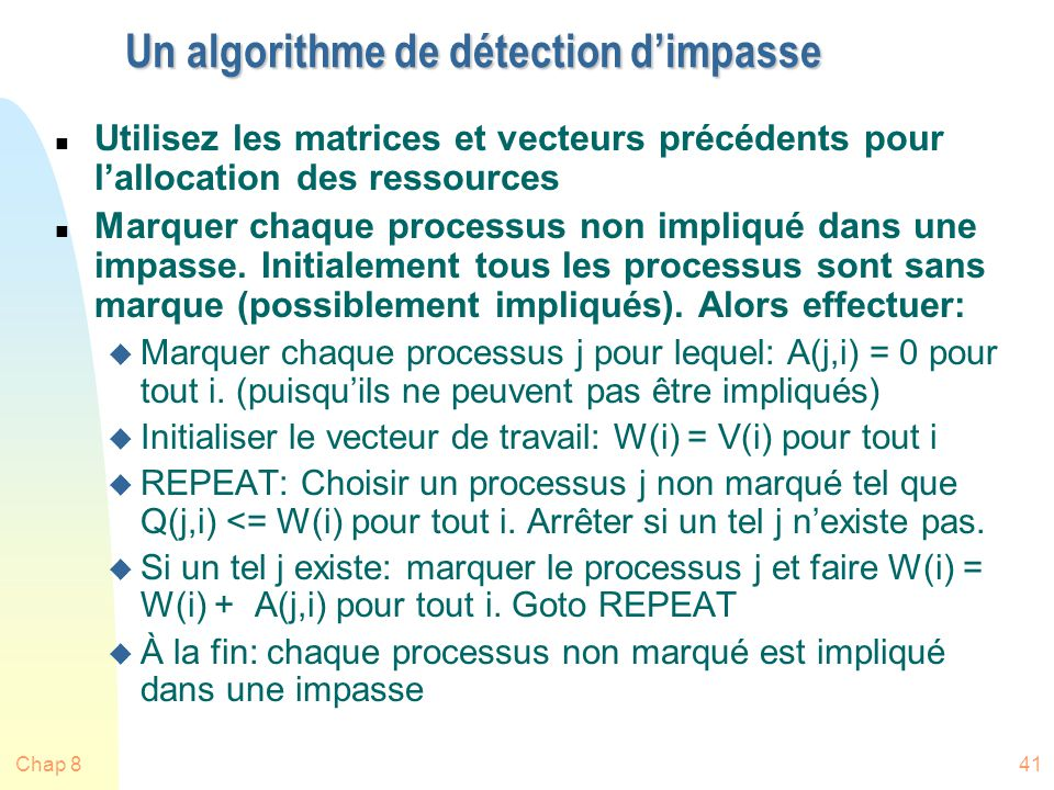 Un algorithme de détection d'impasse