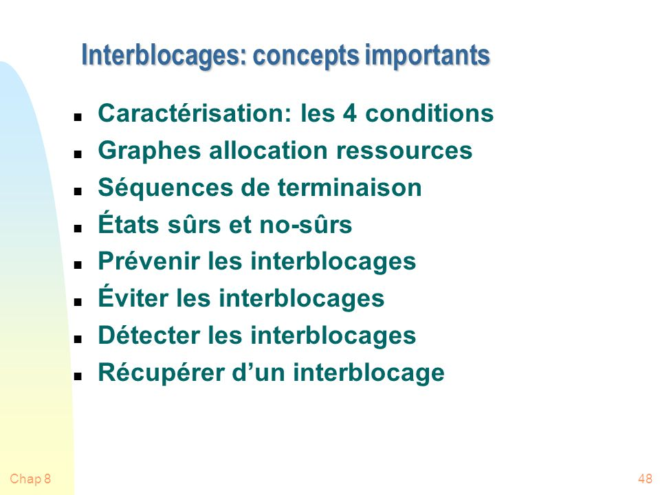 Interblocages: concepts importants