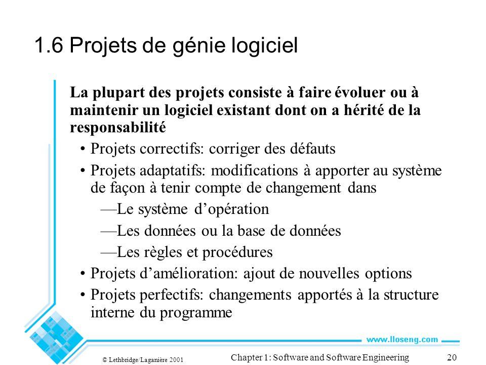 1.6 Projets de génie logiciel