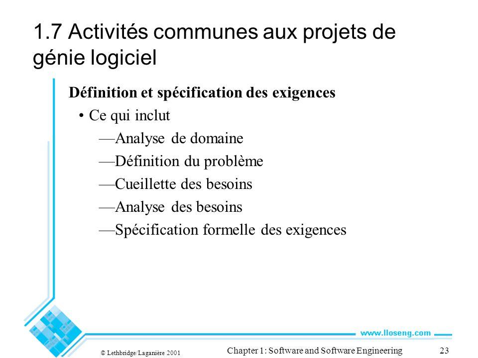 1.7 Activités communes aux projets de génie logiciel