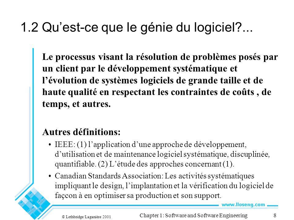 1.2 Qu'est-ce que le génie du logiciel ...