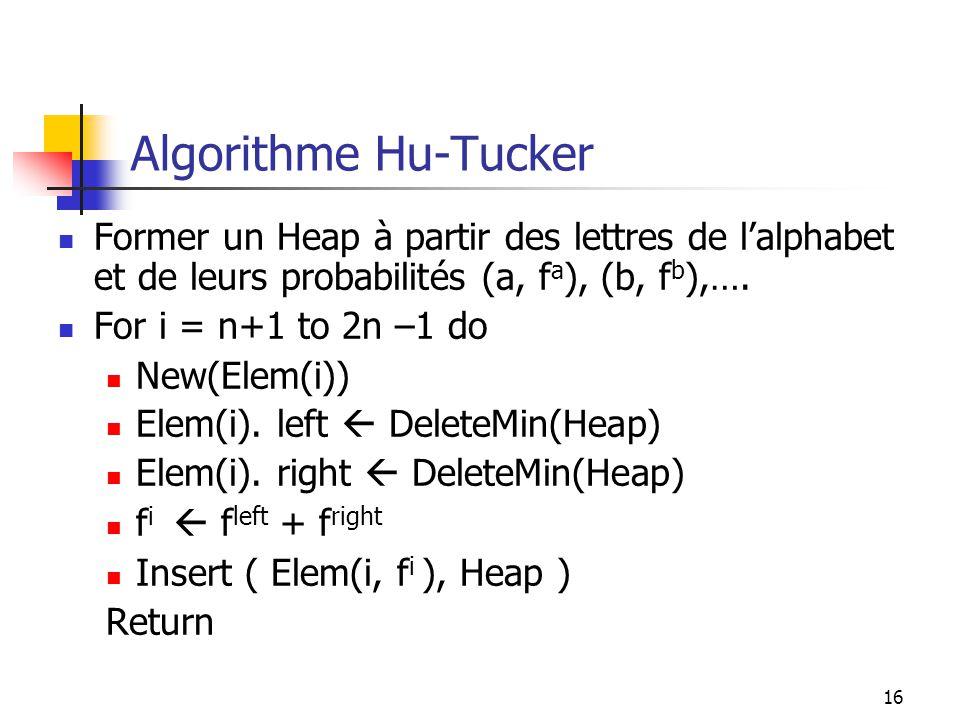 Algorithme Hu-Tucker Former un Heap à partir des lettres de l'alphabet et de leurs probabilités (a, fa), (b, fb),….