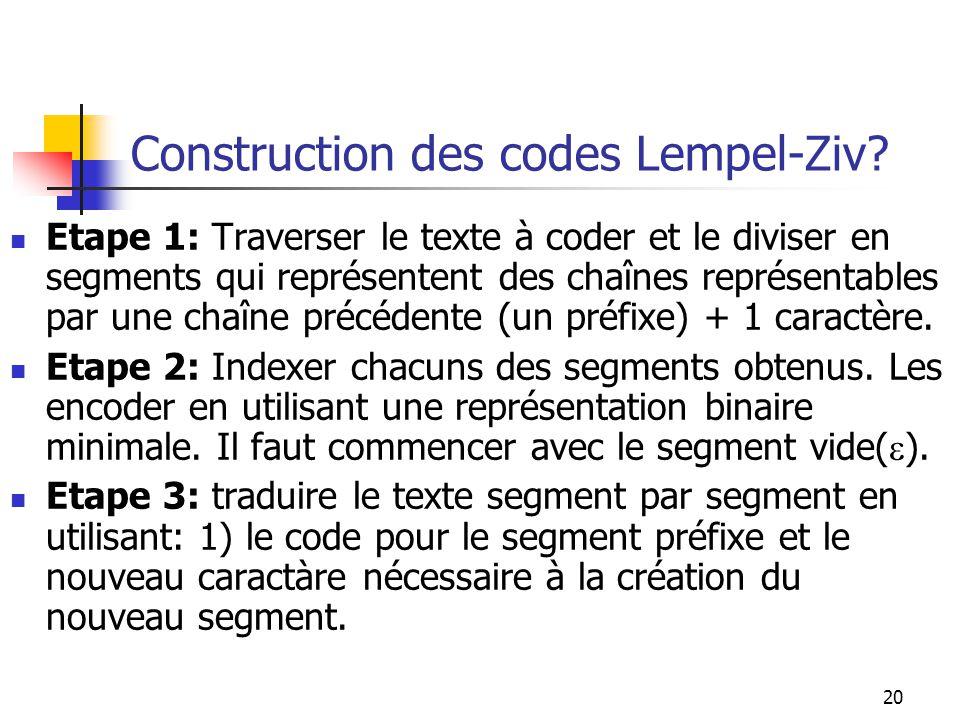Construction des codes Lempel-Ziv