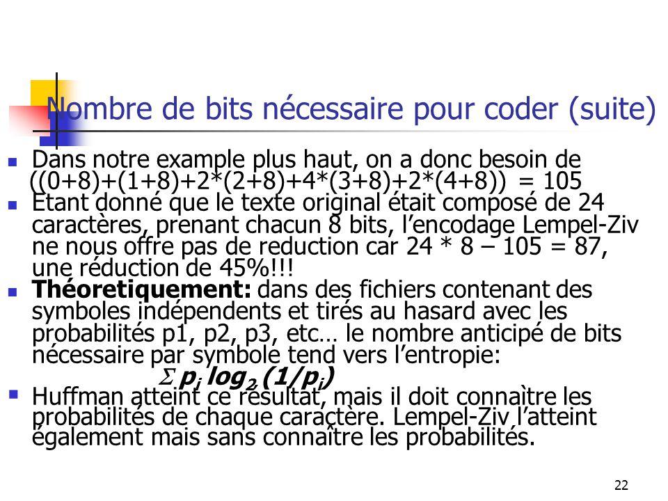 Nombre de bits nécessaire pour coder (suite)