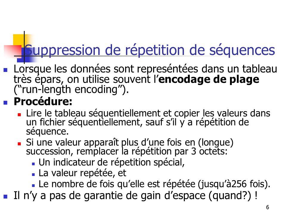 Suppression de répetition de séquences