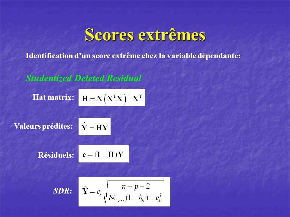 Scores extrêmes Studentized Deleted Residual