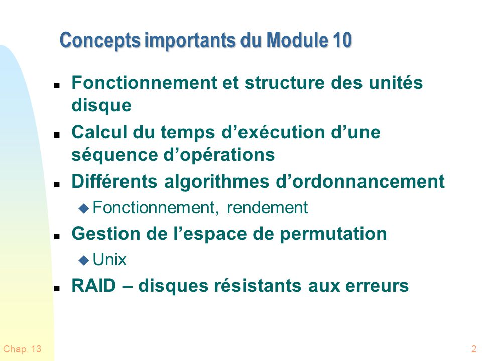 Concepts importants du Module 10