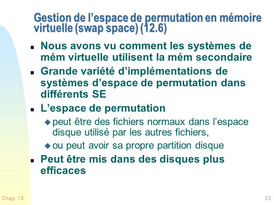 Gestion de l'espace de permutation en mémoire virtuelle (swap space) (12.6)