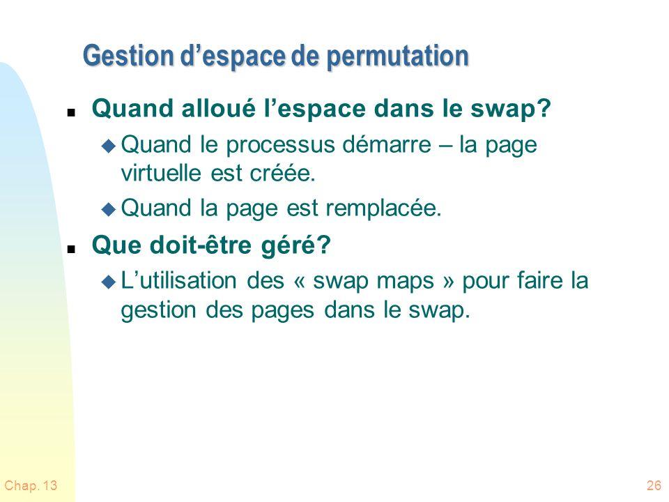 Gestion d'espace de permutation