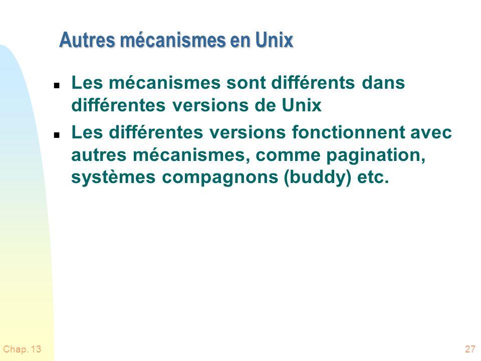 Autres mécanismes en Unix