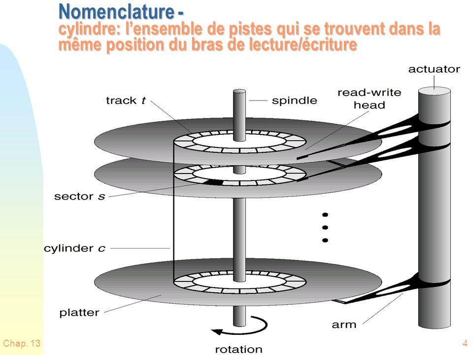 Nomenclature - cylindre: l'ensemble de pistes qui se trouvent dans la même position du bras de lecture/écriture