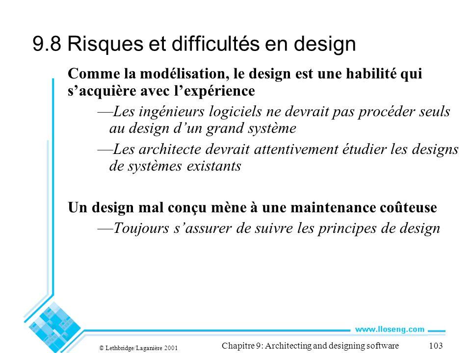 9.8 Risques et difficultés en design